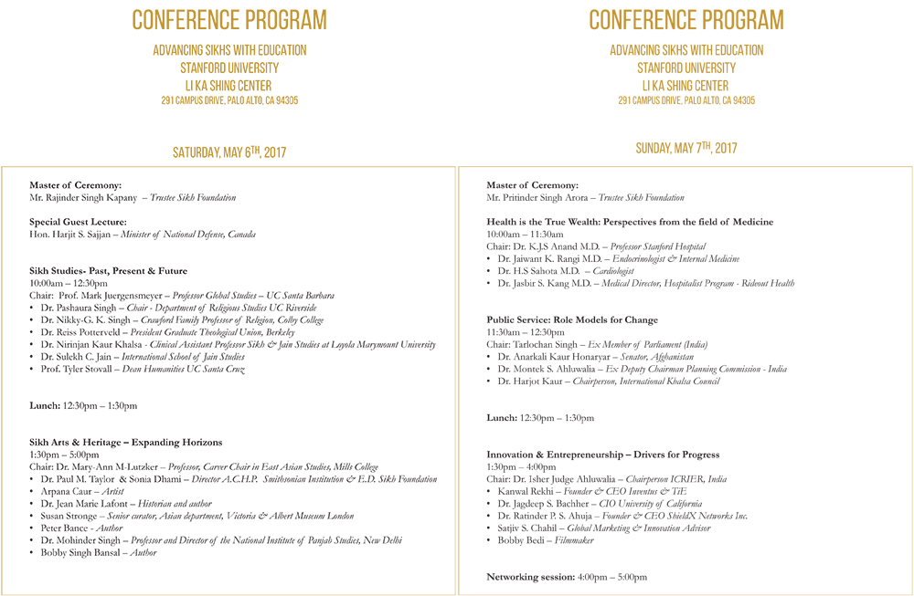 Sikh Foundaton Conference Schedule