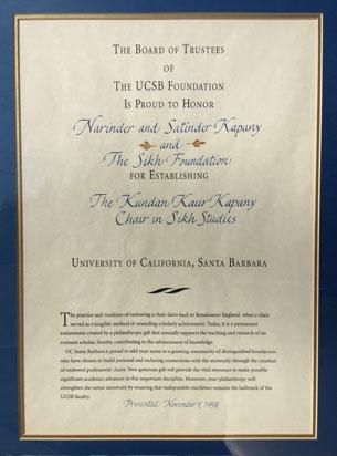 "Acknowledgement from UC Santa Barbara, on the establishment of the Chair- Kundan Kaur Kapany Chair in Sikh Studies"" in 1997"
