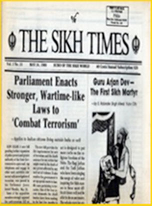Newspaper published by Sikh Foundation from 1984-85