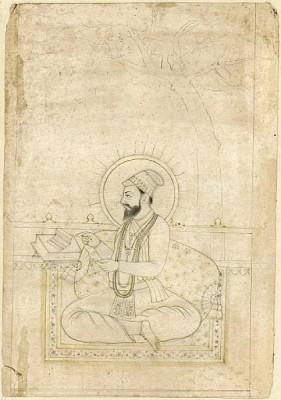 Sketch of Guru Arjan Dev seated on a balcony reading