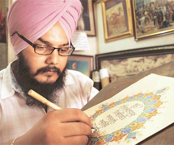 Carrying on his family legacy, Hardeep Singh has taken to writing Gurbani in calligraphy.
