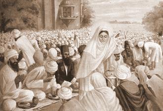 Mata Khivi distributing Langar