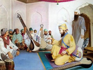 Guru Gobind Singh Ji teaching handicapped persons how to play traditional instruments (Saaj), some which were actually designed by the Gurus themselves.