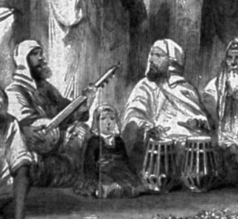 Drawing by W. Carpenter of Sri Harmandar in 1858, showing the Guru's Court open and Kirtani doing Raag Kirtan using traditional Gurmat instruments.