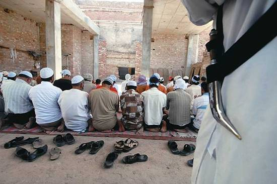Muezzin's call: Worshippers at the Dhuri mosque