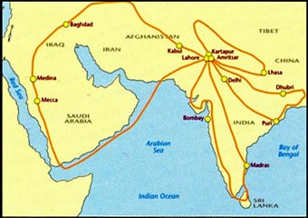 map charts the places Guru Nanak Dev is reported to have visited