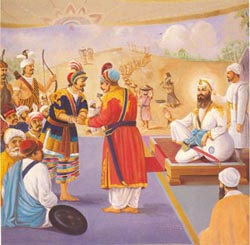 Guru Teg Bahadur arranges peace between Raja Ram Singh and King Chakradhwaj of Ahom. By Amolak Singh