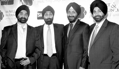 From left, Teji Singh Bindra, president of the Sikh Art and Film Foundation; Paul Johar, chair of the film festival; Mandeep Sodi chair for finance; and Harmeet Bharara, the chair for the Heritage Gala
