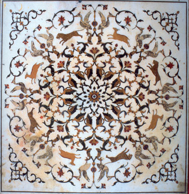 Golden Temple marble pattern under the Guru Granth sahib