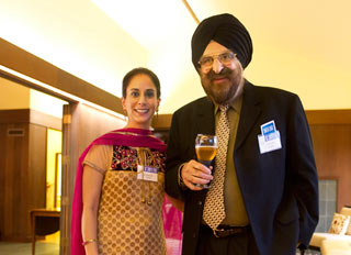 Arvinder Kaur Aurora who is a successful entrepreneur and manages the business of her father Sardar Hardit Singh Aurora with Dr Narinder Singh Kapany, chairman of the Sikh Foundation.