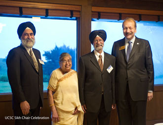 Professor Nirvikar Singh, the chair of Sikh and Punjabi studies at UC Santa Cruz, Mr and Mrs. Aurora with UC Santa Cruz chancellor George Blumenthal.