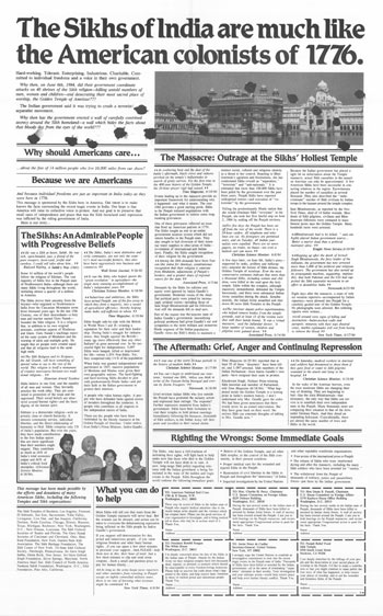Full-page advertisement that appeared in major metropolitan newspapers in 1984
