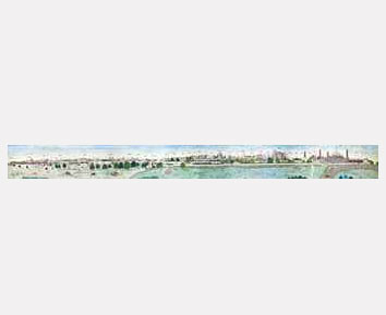 Sikh Art Watch - A PANORAMIC VIEW OF THE CITY OF LAHORE PUNJAB, CIRCA 1840 AD