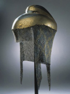 Helmet with chain mail neckguard