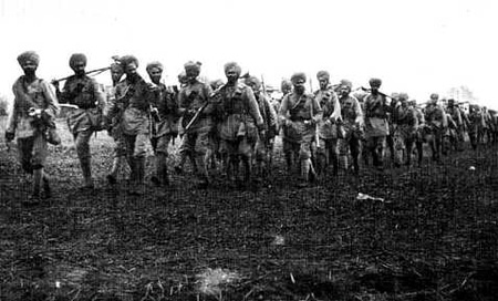 Sikh Regiment returning after the Battle of Ypres