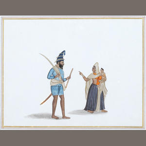Sikh Art Watch - A Sikh Akali and his wife and child