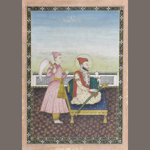 Sikh Art Watch - A Sikh prince seated against a bolster on a terrace