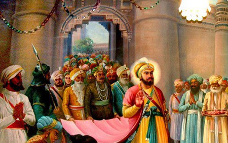 Guru Hargobind Sahib, Sixth Sikh Guru walking out of the Fort