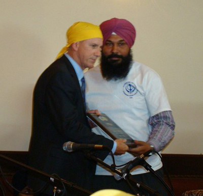 US Congressman Tom McClintock with Asstt. Secretary of Stockton Gurudwara Gurmail S Khela Credit: A Singh