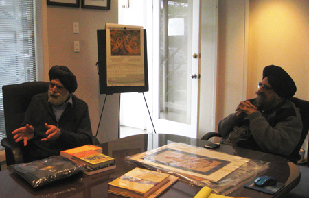 Lord Indarjit Singh making a point with Dr. N.S Kapany