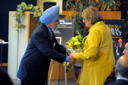 Interim Chancellor Jane Close Conoley been felicitated by Prof. Pashaura Singh