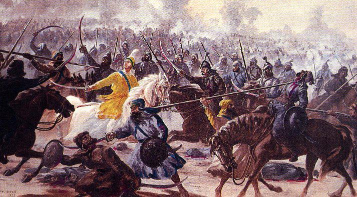 Baba Ajit Singh in battle by Kirpal Singh