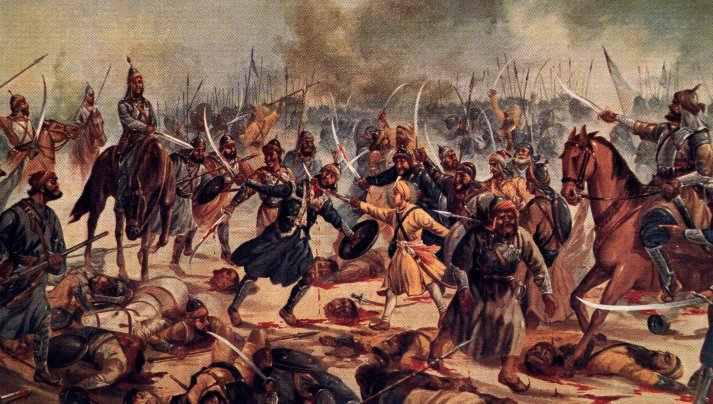 Baba Jujhar Singh in battle by Kirpal Singh