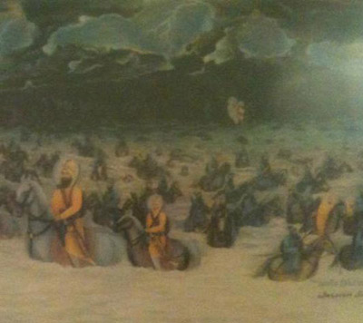 Guru Gobind Singh & his Sikhs crossing the Sarsa Nadi