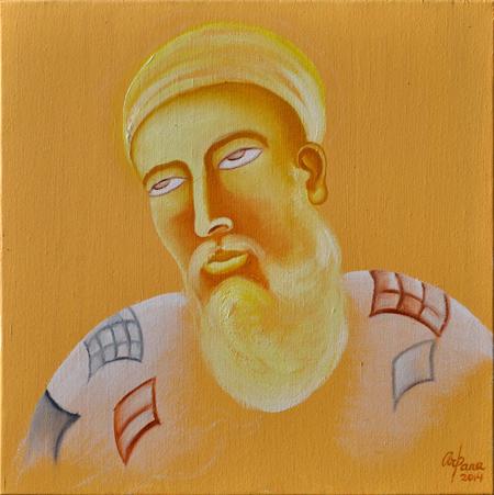 Guru Nanak Oil on Canvas by Arpana Caur