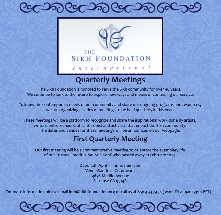 The Sikh Foundations - Quarterly Meetings