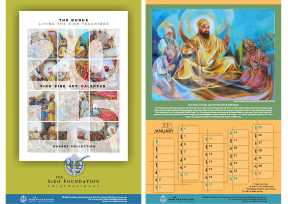 The Gurus - Living the Sikh Teachings - Sikh Fine Art Calendar 2015