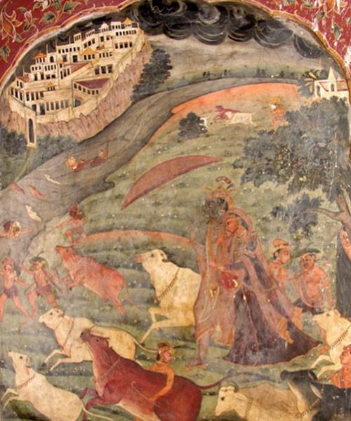 Krishna, Radha and Sawan. Fresco panel in the interior of Ranjit Singh's Samadhi.