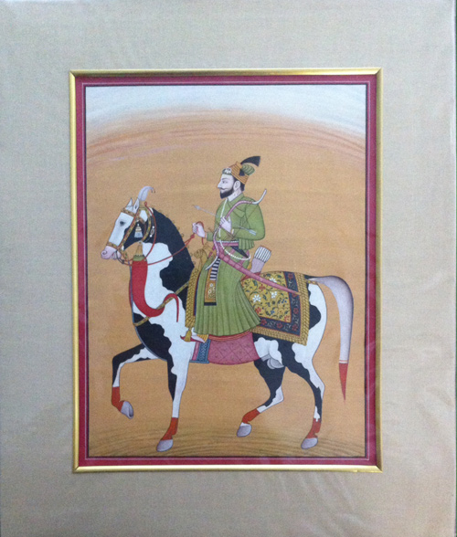 Guru Gobind Singh on Horseback - Miniature Painting
