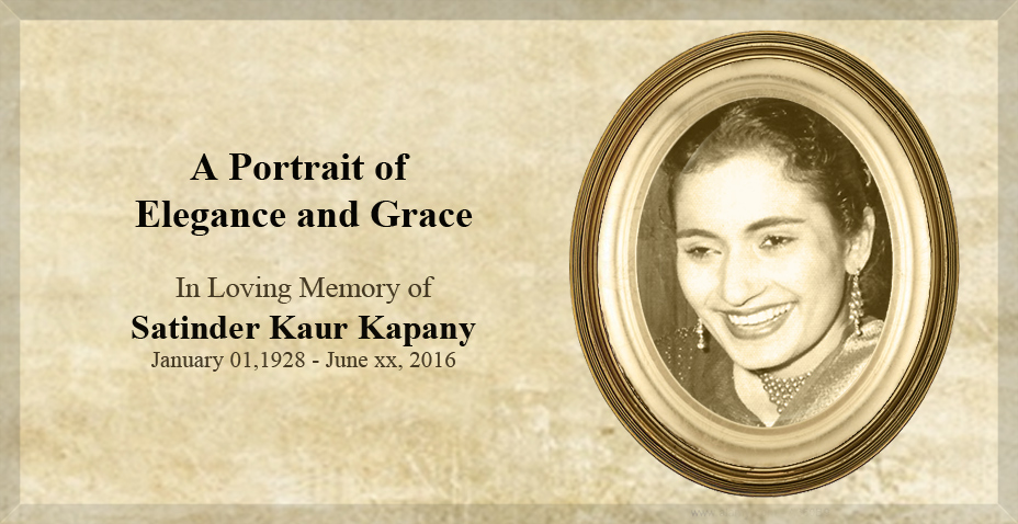A Portrait of Elegance & Grace – Satinder Kaur Kapany