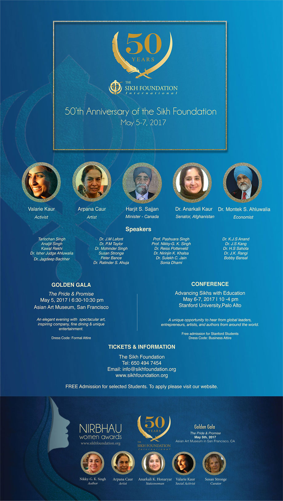 Sikh Foundation 50 years - Flyer of events