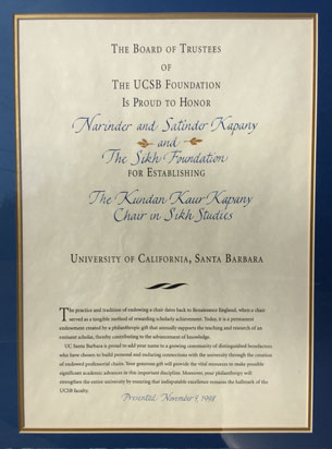 Acknowledgment from UC Santa Barbara, on the establishment of the Kundan Kaur Kapany Chair in Sikh Studies in 1997