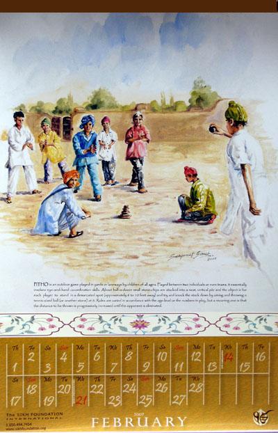 Sikh Fine Arts Calendar 2007 – Sikh Children's Games