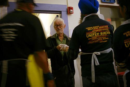 Sikhs feeding the homeless in San Francisco, California