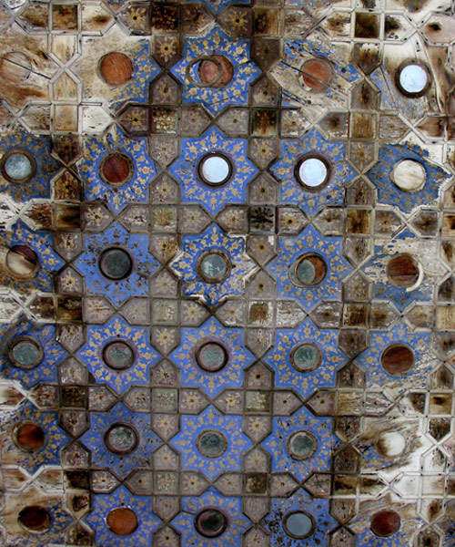 Painted wooden Ceiling with mirrors, Ath Dara, Lahore Fort.