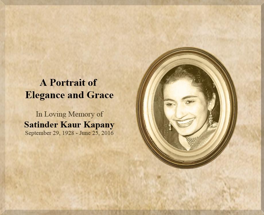 A Portrait of Elegance & Grace – Satinder Kaur Kapany