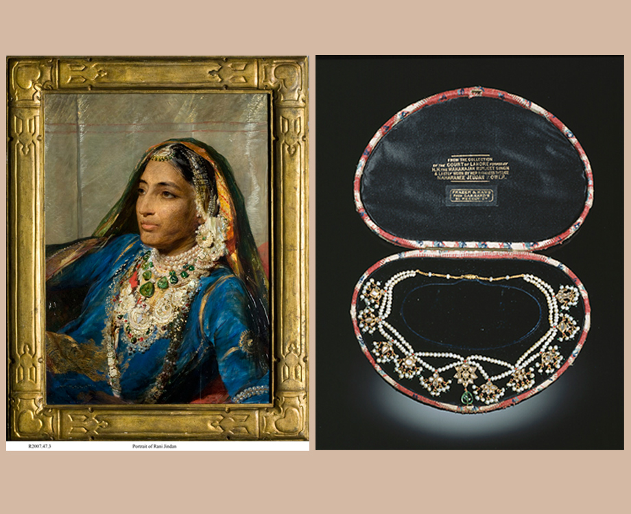 (L) Maharani Jind Kaur George Richmond Oil on canvas 1878 (R) Rani Jindan Earrings and Necklace - The Kapany collection